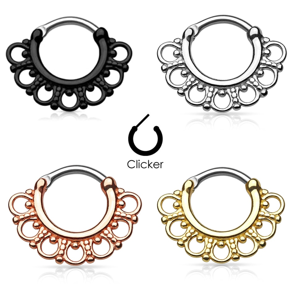 1 pc tribal fã círculos titanium septo nariz anéis clicker parafuso prisioneiro piercing orelha cabide septo clicker anéis 16g moda jóias do corpo