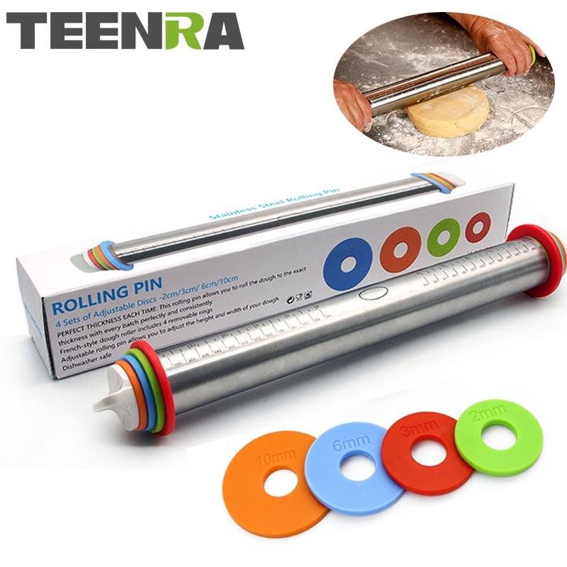 TEENRA 1 Uds 44cm longitud ajustable rodillo de rodillo molde para repostería de acero inoxidable rodillo para tartas rodillo de masa herramientas para hornear
