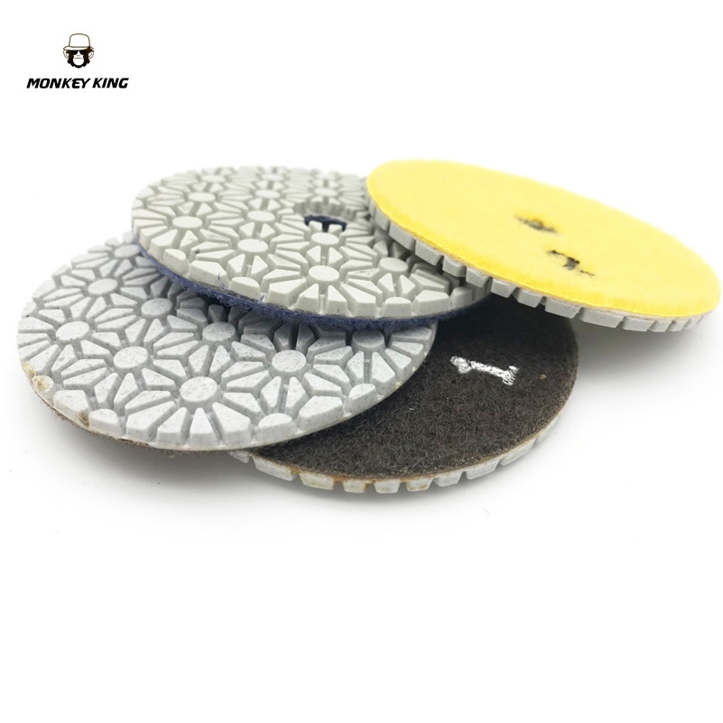 Diamante Wet/Dry Almofadas de Polimento ferramenta roda de discos abrasivos 3 polegada 3 PASSO Conjunto de quartzo Pedra de Granito de Mármore Concreto