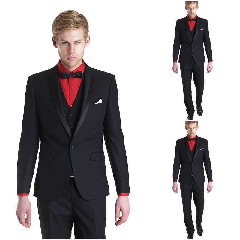 Custom Made New Style Groom Tuxedo Groomsmen Black Wedding/Dinner/Evening Suits Best Man Bridegroom (Jacket+Pants+Tie+Vest) B84