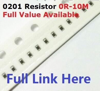 ¡Envío Gratis 500 Uds resistencia SMD de tipo Chip 0201 10K ohm 5% 0R ~ 10M 1/2W 10R 100R 220R 330R 470 ohm 1K 2,2 K 10K 100K 0R 1R! 5/5/6/7/8/9/R/K