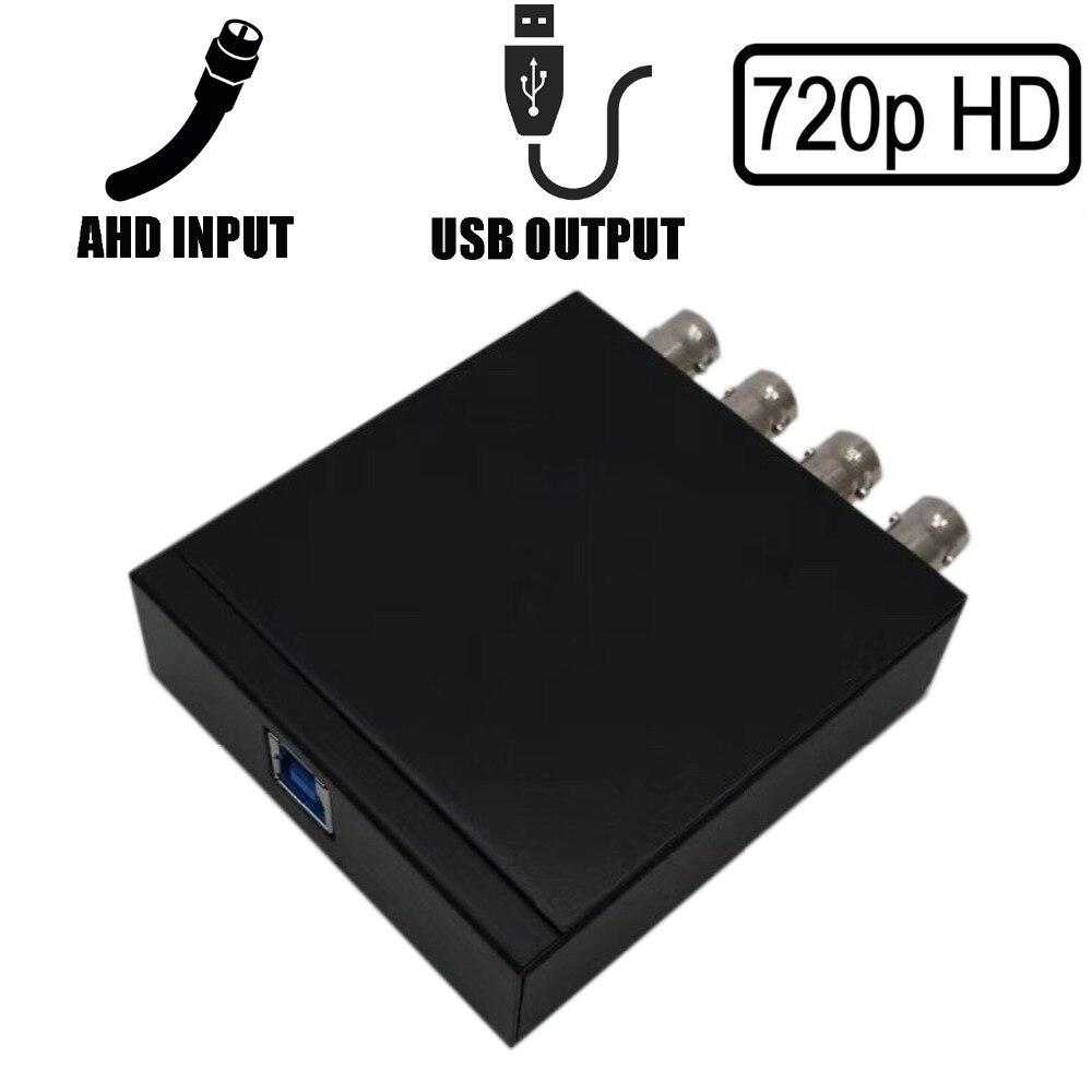 Tarjeta de reproducción UVC 4CH 720P AHD a USB 3,0 para soporte de transmisión en vivo vMix OBS Studio iSpy, etc.