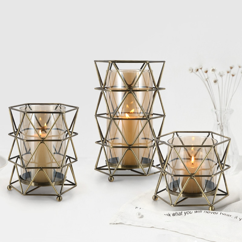 Candelabros creativos geométricos de centro de mesa candelabro portavelas de cristal decoración...