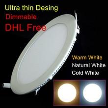 10pcs/lot Dimmable Ultra thin 3W/4W/ 6W / 9W / 12W /15W/ 25W LED Ceiling Recessed Grid Downlight / Slim Round Panel Light