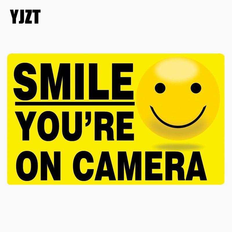 YJZT 14.8CM*8.9CM Lnterest Decal SMILE YOURE ON CAMERA Car Sticker C1-7684