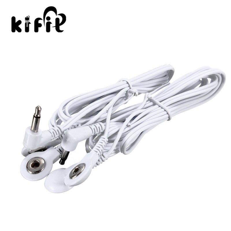 Kifit durável 1 pc substituição elétrodo almofadas dezenas unidade fios de chumbo cabos para dezenas ems padrão 3.5mm conexão massagem ferramentas