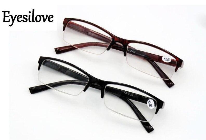 Eyesilove half-rim óculos de leitura de plástico de boa qualidade presbiopia óculos lentes grau + 1.0 a + 4.0 preço de fábrica