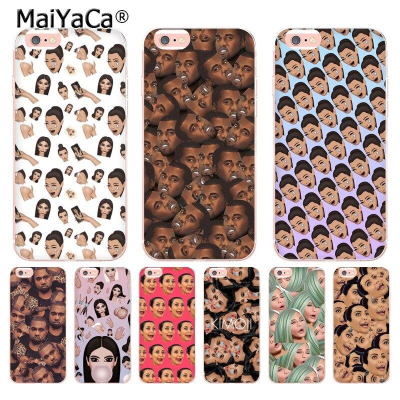 MaiYaCa cara Kimoji Kim Kardashian Kanye transparente cubierta de teléfono de TPU suave para iPhone6 6S 6 7 8Plus X 10 5 SE 5C 4S caso Coque