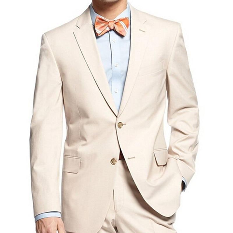 Trajes de hombre Beige, novio, novio, traje de muesca, esmoquin de solapa para novio, mejor Traje De Hombre DE BODA 2017 (chaqueta + Pantalones + corbata + pañuelo)