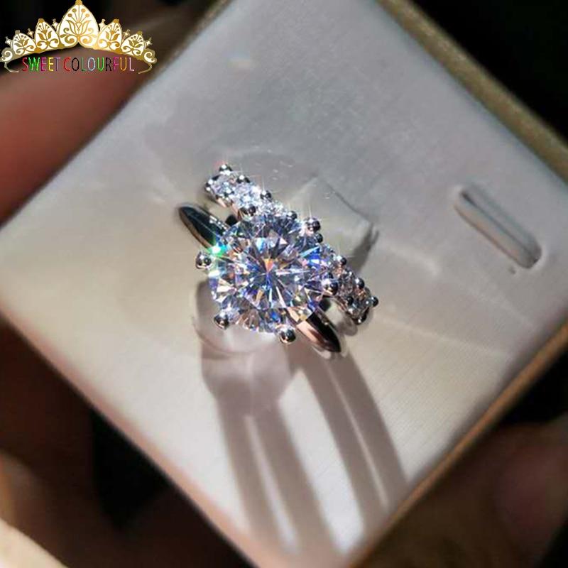 100% anillo de moissanita de oro de 18K 750Au 2 uds, anillo de compromiso de moissanita, color D con certificado nacional MO-01