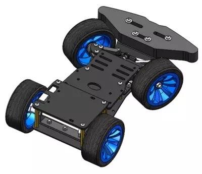 4WD RC Chasis de coche inteligente con engranaje de dirección de Metal, Servo cojinete Kit controlado por Arduino 4 ruedas Robot modelo Diy RC juguete