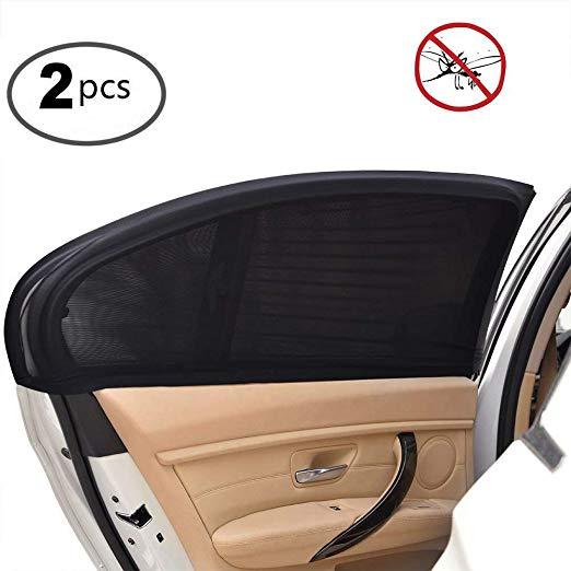 2Pcs רכב מגן שמש אחורי צד חלון שמש צל רשת בד מגן שמש צל כיסוי מגן UV מגן שחור אוטומטי שמשיה וילון