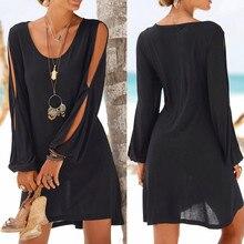 Kleid Mode Frauen Casual O-ansatz Aushöhlen Hülse Gerade Kleid Solide Strand Stil Mini kleid frauen Großhandel 8,24
