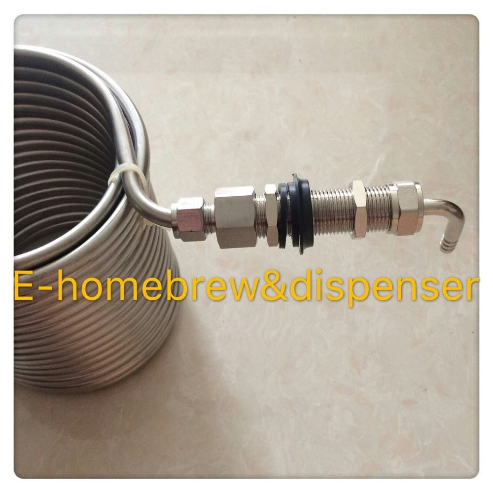 15m long double layer food grade 304 stainless steel Wort Chiller /cooling coil +Long shank beer tap/faucet+80mm shank