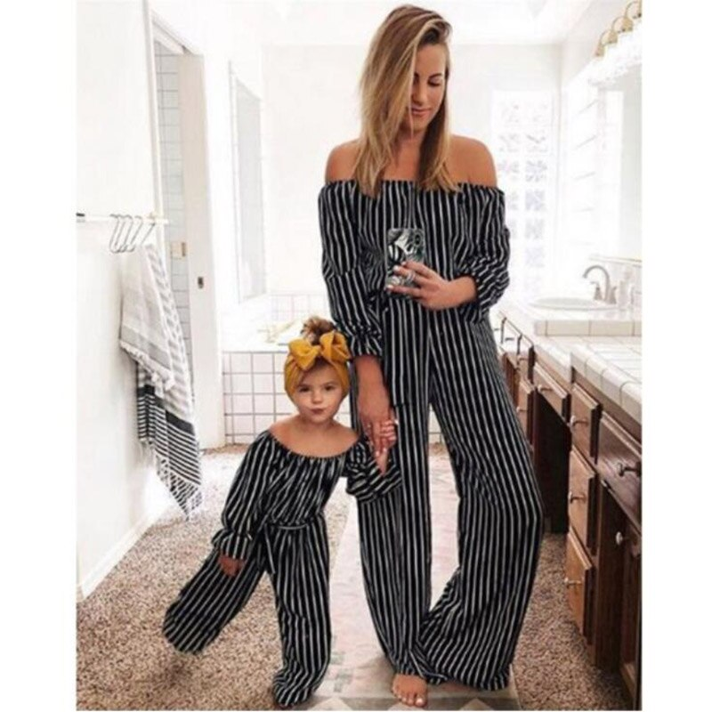2019 verano rayas hombro mono niños niñas familia ropa de moda familia conjuntos madre y hija Q003