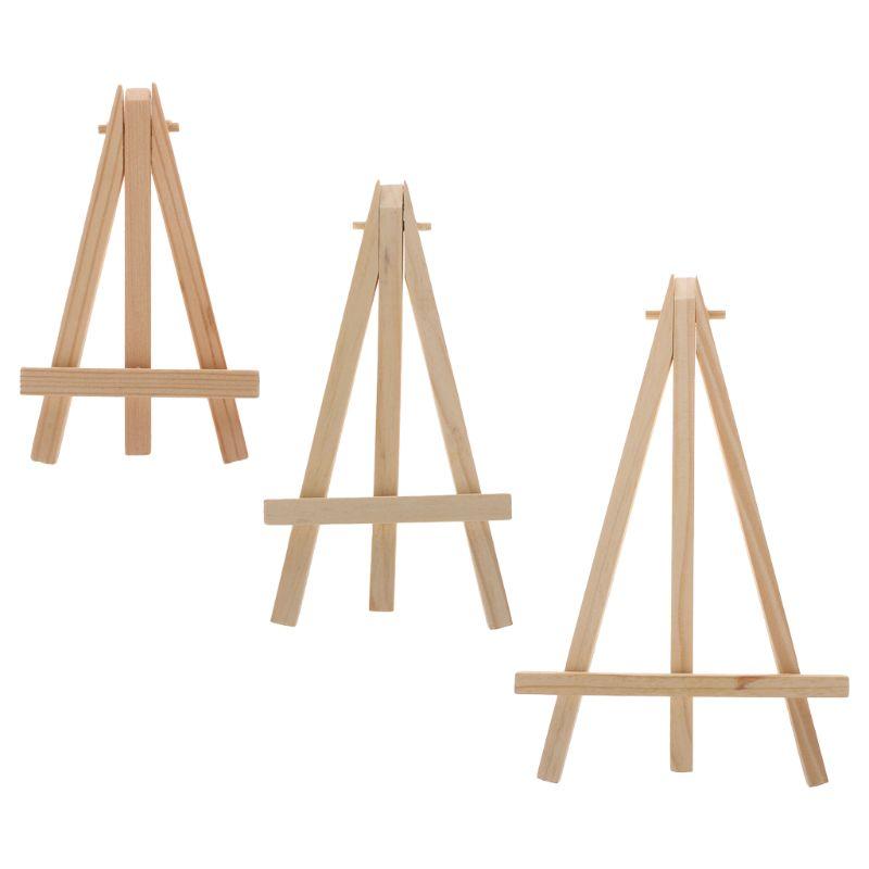 Mini Marco de atril de madera Natural, trípode para exhibición, mesa de reuniones, boda, número de Tarjeta De Nombre, soporte de exhibición, arte de pintura para niños