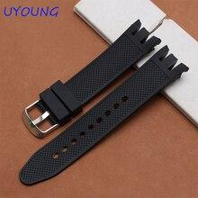 Bracelet en caoutchouc de qualité 21mm bracelet en silicone de remplacement pour Swatch YRS401   402   411   409   413 bracelet noir