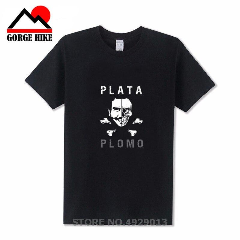 Summer 2019 New Brand Clothing Plata O Plomo T shirts Men Narcos Pablo Silver or Lead T-shirt Cotton Hip Hop O Neck Escobar Tees
