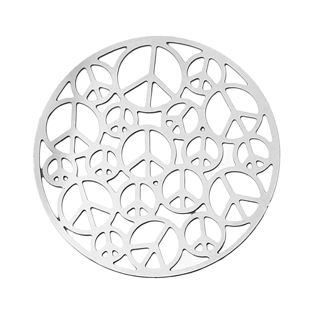 "DoreenBeads filigrana de acero inoxidable adornos hallazgos redondo color plata hueco símbolo de la Paz 25mm (1 "") Dia, 1 pieza"