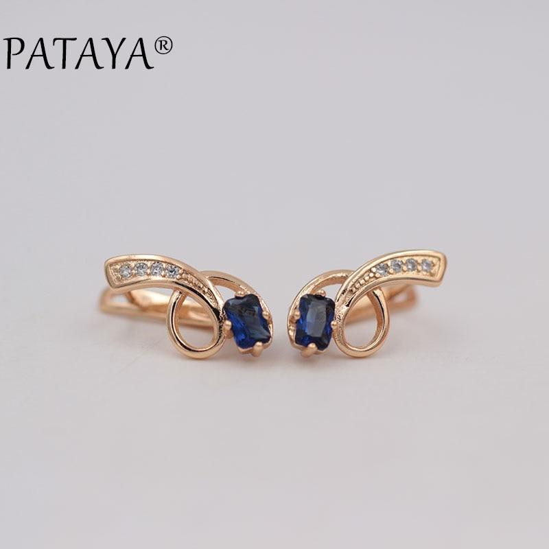 PATAYA New 585 Rose Gold Long Earrings Square Blue Natural Zircon Crystal Drop Earrings Ethnic Jewelry Tassel Green Earrings