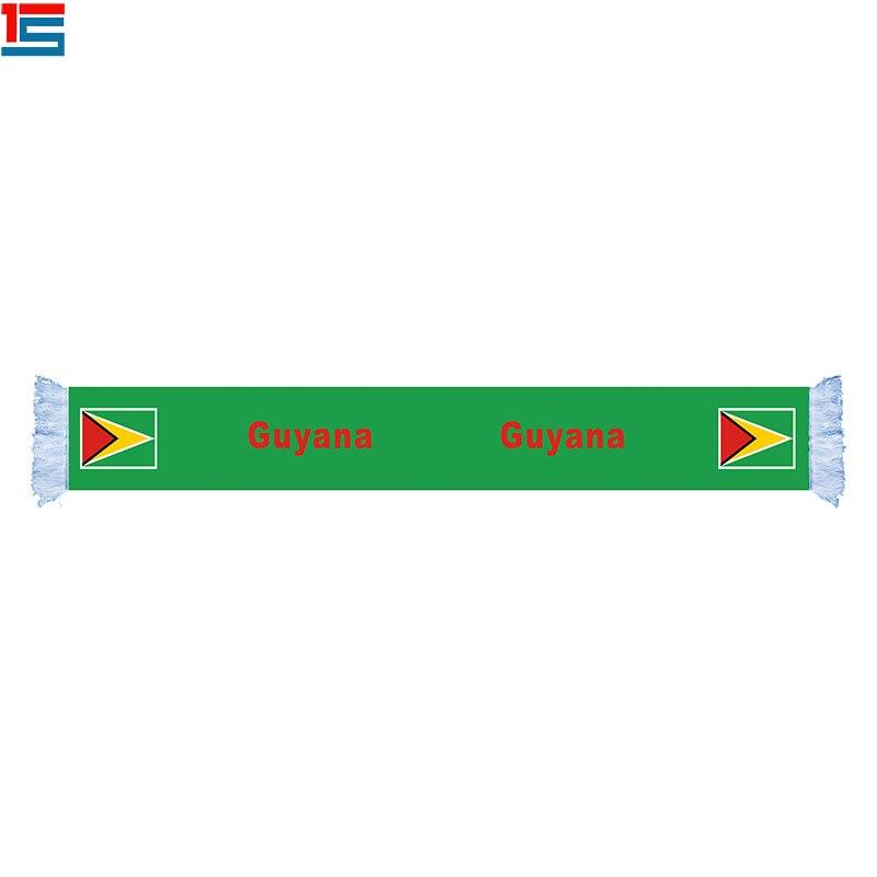 Custom design dubbele lagen uitlaat voetbal fan sjaal GUYANA nationale logo sjaal