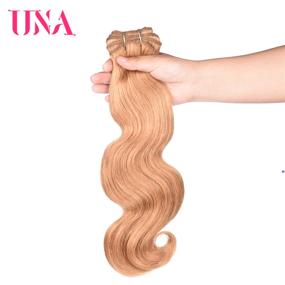 "UNA Brazilian Human Hair Body Wave Bundles 3 Bundles Deal Remy Human Hair Sew-in Extensions 12""-26"" Color #27 Blonde"