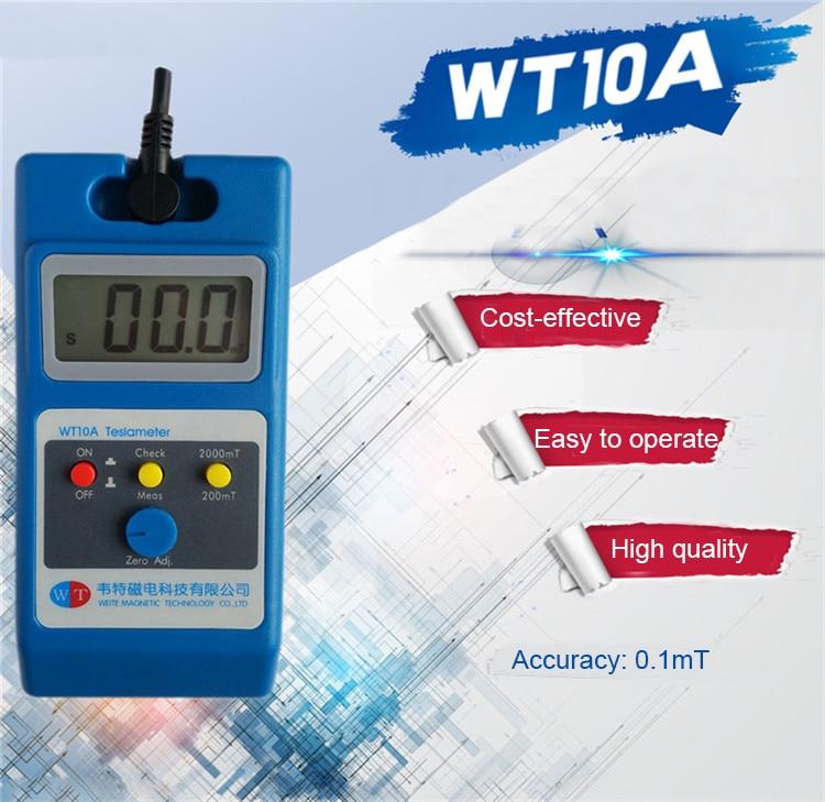 WT10A مقياس مغناطيسي للسطح اختبار المجال المغناطيسي مقياس القفاز جيتال غاوس متر تسلا 0 ~ 2000mT تدفق متر Ns وظيفة مع التحقيق