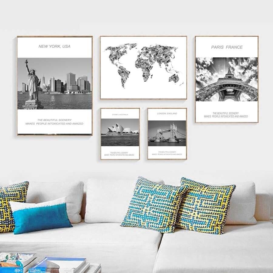 Paisaje de la Ópera de Sydney, paisaje marino, mapa del mundo, pintura en lienzo, arte de pared, imagen de dormitorio, póster negro e impresión