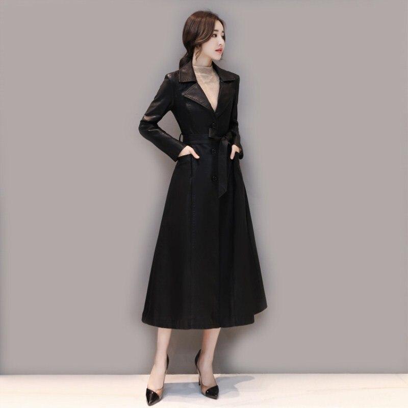 leather jacket women spring autumn Long Faux Leather Coat Rex rabbit fur collar plus cotton trench coat plus size M-5xl k812 enlarge