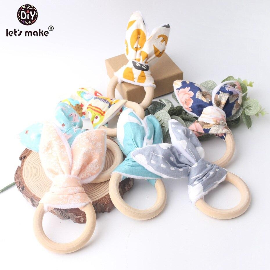Lets Make anneau en bois de dentition 5 pièces   Anneau de dentition en bois de qualité alimentaire, anneau de jeu Non-toxique, jouet landau, jouets de dentition pour bébé
