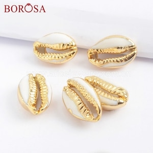BOROSA Design 10PCS Gold Color Natural Cowrie Shell Bead Undrilled Gold Trim Shell Pendant Beads For Bracelet Jewelry G1690