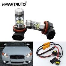 Apmatauto-ampoules antibrouillard 3030 W H8 H11 100 20SMD   2 pièces blanches, sans erreurs, pour Audi A1 A4 A5 S5 A6 Q3 Q5 SQ5 TT, 12V ~ 24V