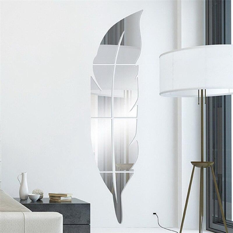 3D Съемная форма пера на стене туалетное зеркало с сильной наклейкой украшение для дома живое
