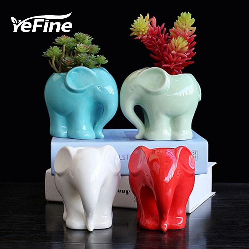 YeFine Zakaka Ceramic Fleshy Flower Pot Creative Cartoon Elephant Plant Pot Culture Fashion Horticulture Table Decoration