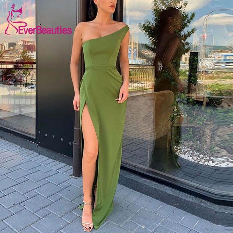 فستان سهرة طويل بتصميم حورية البحر ، ساتان ، غير متماثل ، كتف عاري ، فتحة جانبية ، فستان رسمي ، 2020