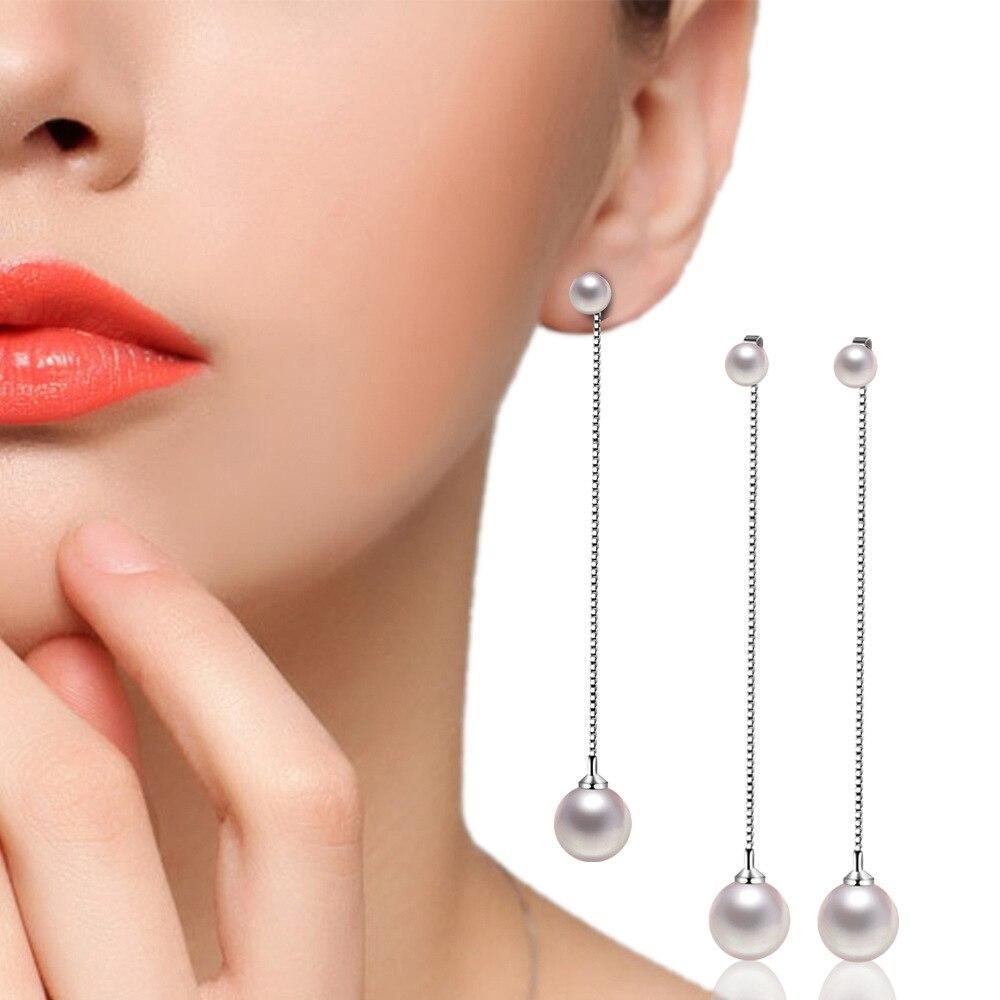 Brincos de pérola artificiais, brincos de cor prata da moda, dupla, item longo, temperamento simples, jóias femininas