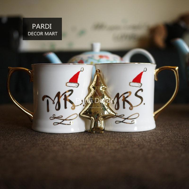 عيد الميلاد هدية القهوة القدح السيد والسيدة الذهبي مقبض القهوة القدح مع شحن عيد الميلاد شجرة الشاي مصفاة 1 قطعة/الوحدة