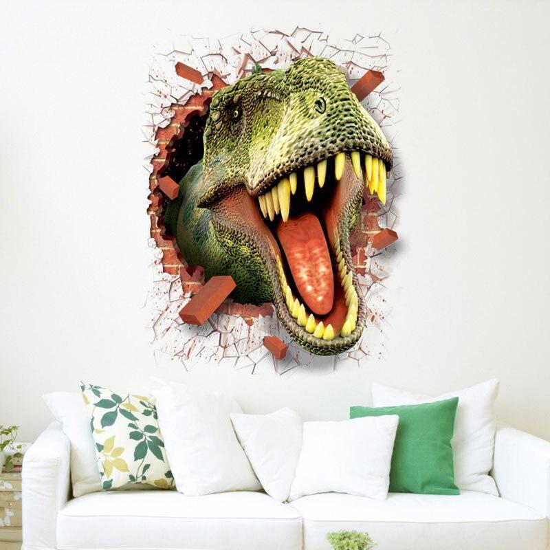 Наклейки динозавра съемный зеленый 3D Динозавр стикер картина домашний Декор картина для детей декоративные наклейки на стену автомобиля