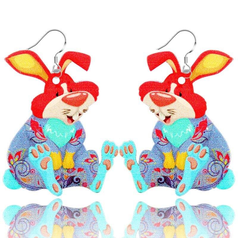 Красочный милый кролик акриловые серьги с подвеской в виде животного цветочным