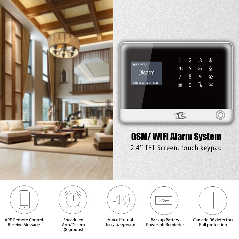 Smarsecur home security alarm Wired Wireless GSM Home Burglar Alarm Systems enlarge