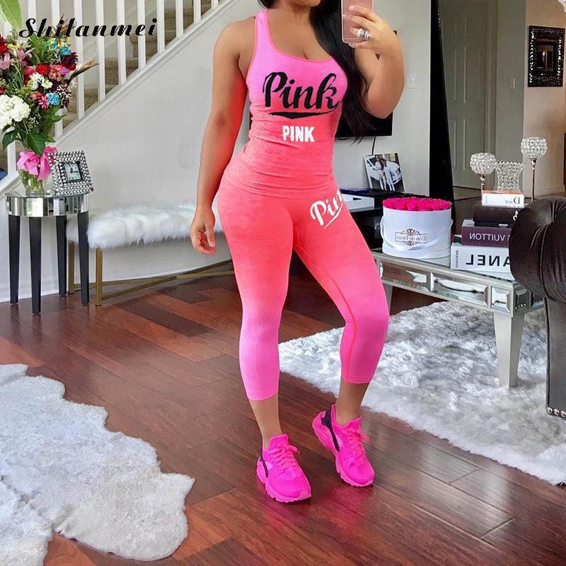 Pink Letter Print Sets Women Casual Plus Size Tracksuit 3xl Women'S Gradient 2 Pieces Set Sleeveless Fitness Suits Sportwear