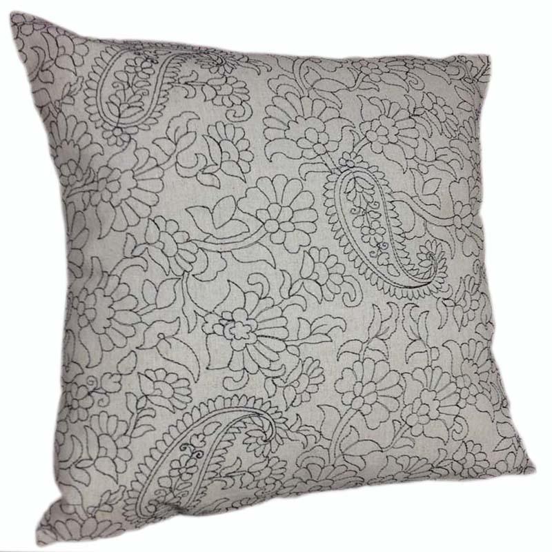 Funda de cojín de Paisley de lino decorativo, funda de cojín bordada, funda de cojín sofá, funda de almohada decorativa