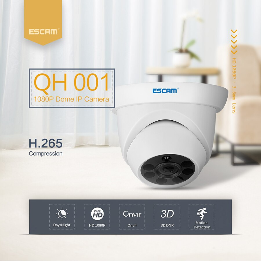 Cámara domo ESCAM QH001 2MP 1080 P 3D DNR IR visión nocturna IP