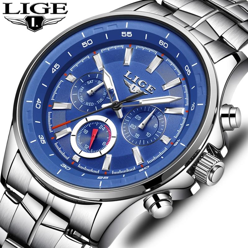 LIGE Mens Watches Waterproof Top Brand Luxury Quartz Watch Men Sport Watch Fashion Casual Military Clock Male Relogio Masculino