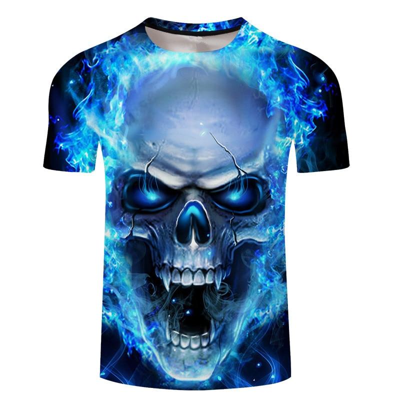 Camiseta con estampado 3D de calaveras para hombre/mujer, camiseta divertida de manga corta, camisetas de manga corta, ropa de Anime, disfraz de talla grande, camisetas 6XL