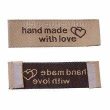 Étiquettes imprimées tissées à la main   Couleur café, vêtements vêtement, étiquette de vêtement, accessoires de couture artisanaux, 5x1.5cm, 50 pièces/lot, diy bricolage