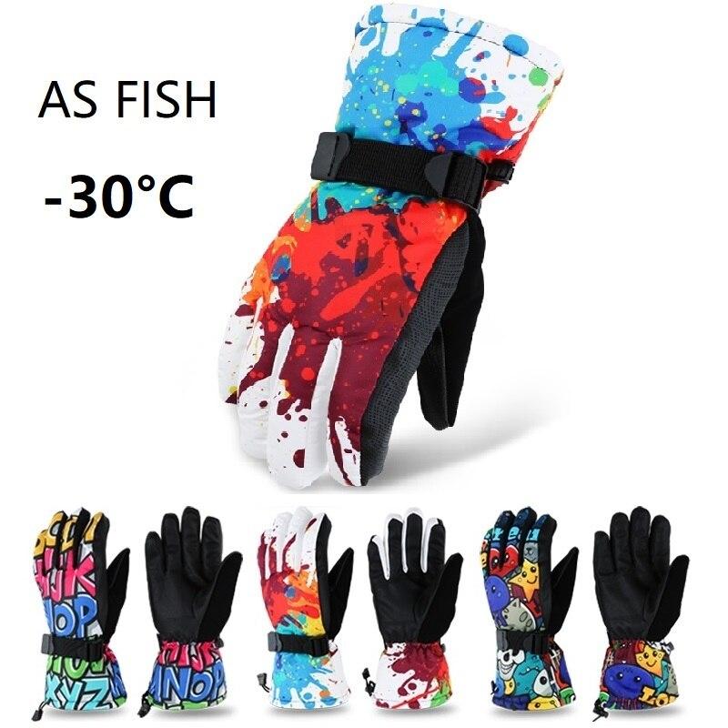 Профессиональные лыжные перчатки для взрослых и подростков As Fish, перчатки для сноуборда, мотоциклетные зимние термоперчатки для альпинизм...