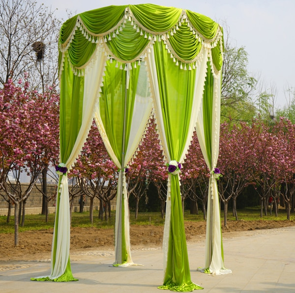 3 mheight * 1,8 Mancho de seda de hielo con coloridos swags y borlas blancas cortinas para boda cuadrangular cuadrado pabellón mandap