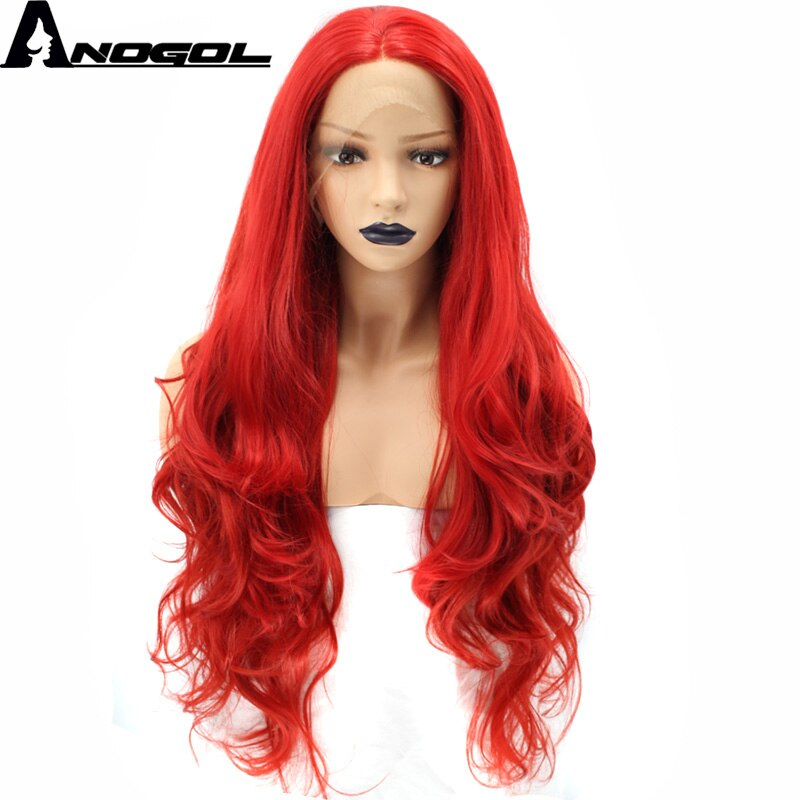 Anogol Red Synthetic Lace Front Wig Long Body Wave High Temperature Fiber Hair Wigs for Women Costume
