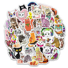 50Pcs Vinyl Cute Cat Stickers Cute Kitty Decals Stickers For Macbook Moto Car & Suitcase Laptop Stickers Skateboard Sticker